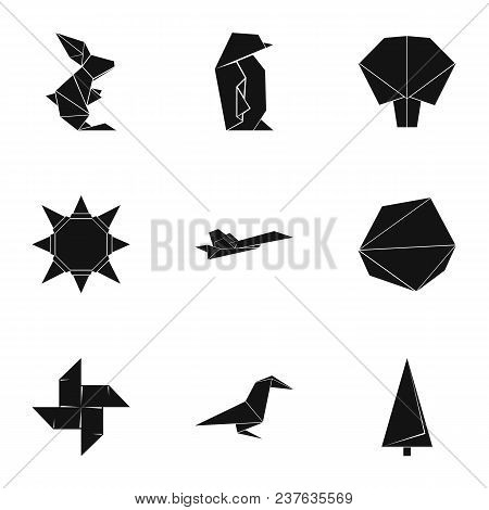 Origami Figurine Icons Set. Simple Set Of 9 Origami Figurine Vector Icons For Web Isolated On White