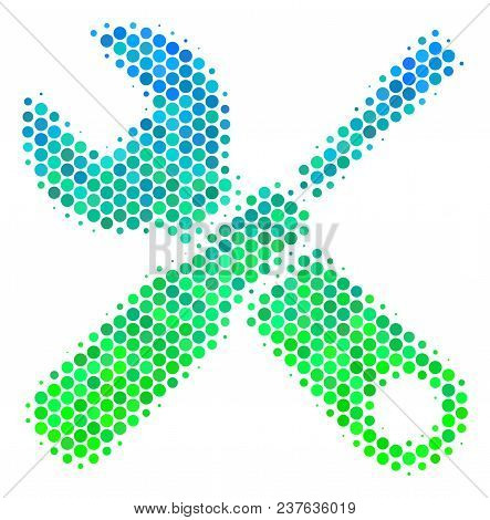Halftone Dot Tools Icon. Pictogram In Green And Blue Color Tints On A White Background. Vector Mosai