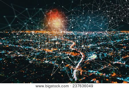 Digital Graph With Downtown Los Angeles At Night
