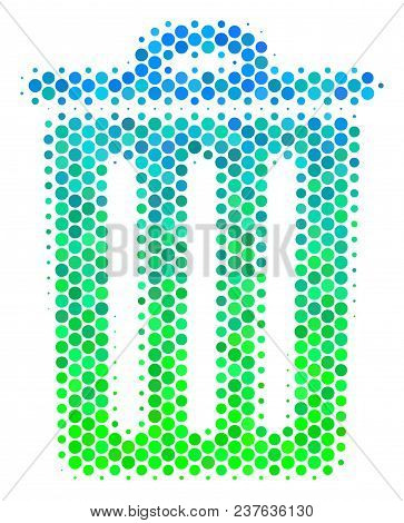 Halftone Round Spot Trash Bin Icon. Icon In Green And Blue Color Tints On A White Background. Vector