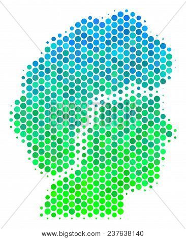 Halftone Round Spot Woman Profile Icon. Icon In Green And Blue Color Tints On A White Background. Ve