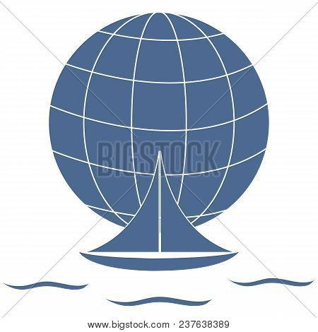 Stylized Icon Of A Colored Yacht, Sailing Over The Waves On A Globe On A White Background