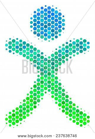 Halftone Circle X Generation Boy Pictogram. Icon In Green And Blue Color Tints On A White Background