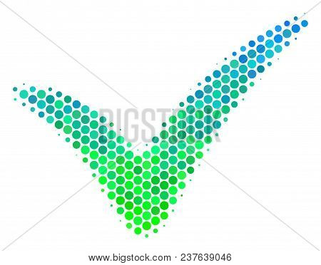 Halftone Circle Yes Icon. Icon In Green And Blue Color Hues On A White Background. Vector Collage Of