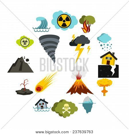 Flat Natural Disaster Icons Set. Universal Natural Disaster Icons To Use For Web And Mobile Ui, Set