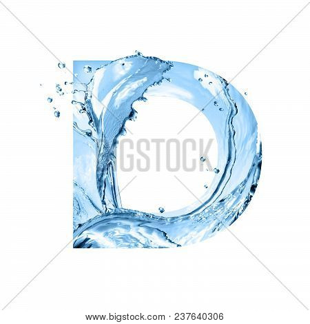 Stylized Font, Text Made Of Water Splashes, Capital Letter D, Isolated On White Background