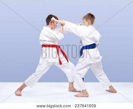 Sportmens Are Training Strikes And Blocks Of Hands