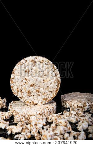 Wheat Grain Crispbread On Black Background, Copy Space For Text, Diet Eating