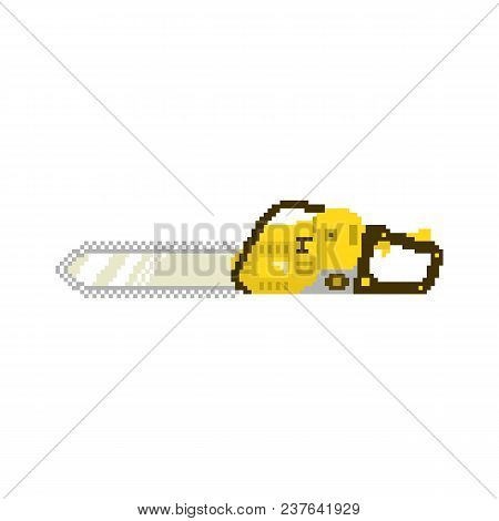 Chainsaw In 8 Bit Game Style. Pixel Color Vector Illustration Isolated On White Background