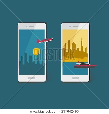 Air And Water Travel Concept.  Business And Tourism Travel Illustration. Vector Smartphone With Plan