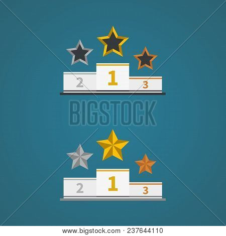 Podium With Gold, Silver And Bronze Trophy Stars. Symbol Of Success.