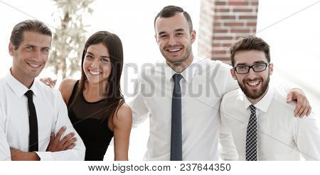 closeup of a happy business team of people.