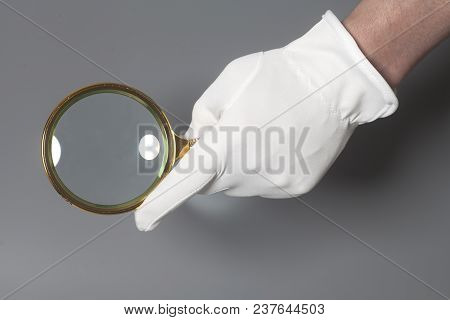 Men's Hand In White Glove Holding Golden Magnifying Glass