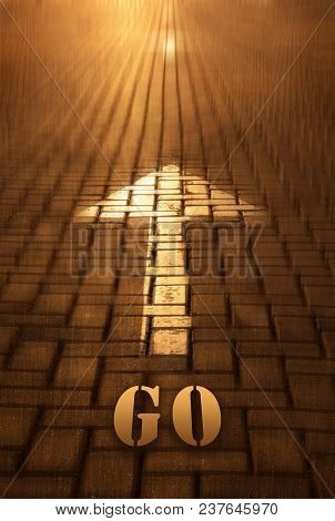 Go Concept With Arrow. Go Word Written On Road At The Sunset. Movement To Infinity. Conceptual Image