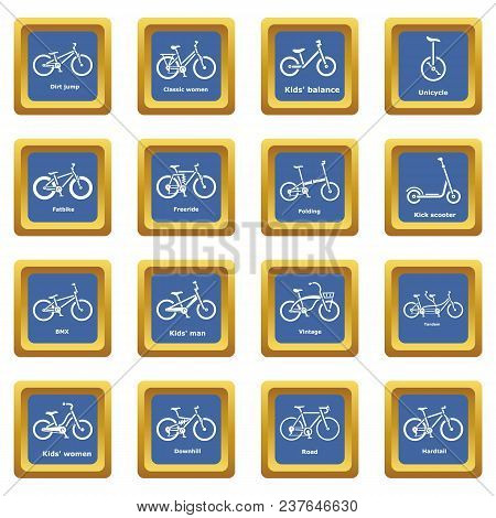 Bicycle Types Icons Set Vector Blue Square Isolated On White Background