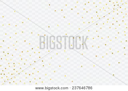 Foil Gold Confetti. Glitter Vector Celebrate Background. Watercolor Golden Sparkles And Dots. Explos