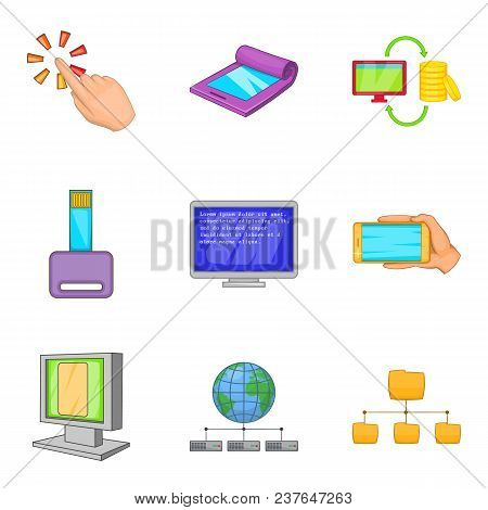 Portable Instrument Icons Set. Cartoon Set Of 9 Portable Instrument Vector Icons For Web Isolated On