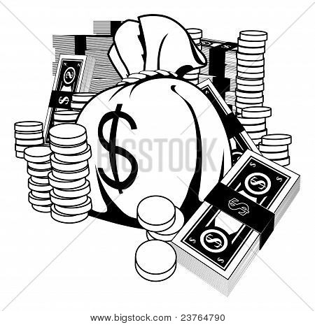 Black And White Illustration Of Cash