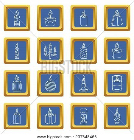 Candle Forms Icons Set Vector Blue Square Isolated On White Background