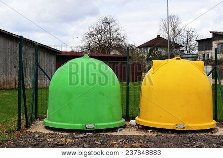 Two Plastic Garbage Container For Garbage Sorting - Plastic, Paper. Garbage Sorting And Recycling Co