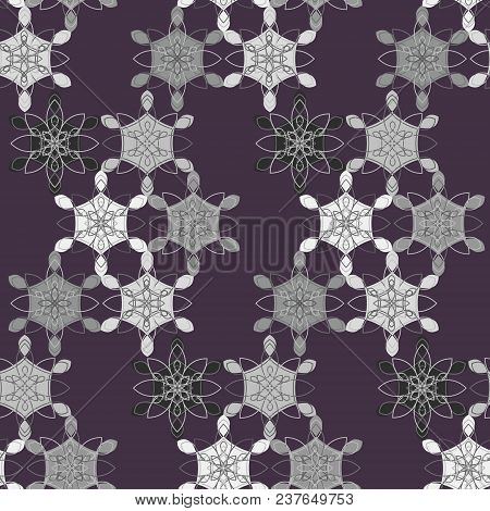 Dark Abstract Lace Floral Seamless Pattern In Purple, Gray And White Colors, East Style. Elegant Con