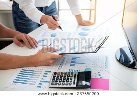 Business Accountant Banking, Business Partner Offering Calculate And Analysis With Stock Financial I