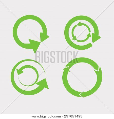 Recycled Cyclegreen Arrows Vector Icon Set Illustration Isolated On White Background