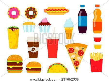 Colorful Fast Food Set In Flat Style. Junk Food Vector Icons Collection. Unhealthy Eating Illustrati
