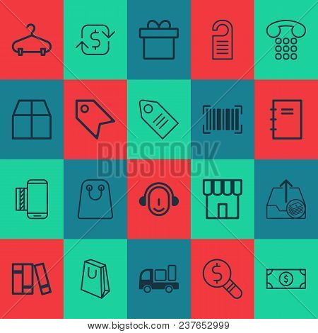 Commerce Icons Set With Shipping, Notepad, Store And Other Employee Elements. Isolated Vector Illust