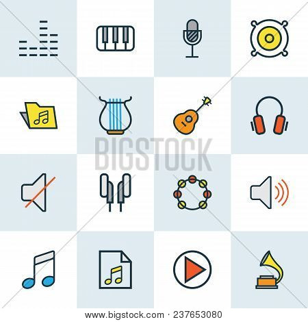 Multimedia Icons Colored Line Set With Notes, Speaker, Soundtrack And Other Tambourine Elements. Iso