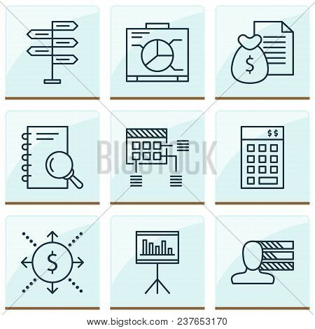 Project Icons Set With Cash Flow, Statistics And Management, Personality Analysis Elements. Isolated