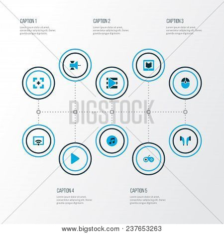 Music Icons Colored Set With Wifi, Playlist, Joystick And Other E-reader Elements. Isolated Vector I