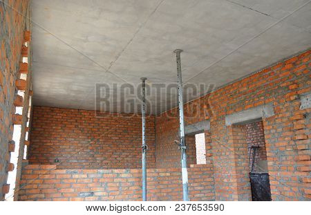 Ceiling Formwork In Unfinished Interior House Construction.