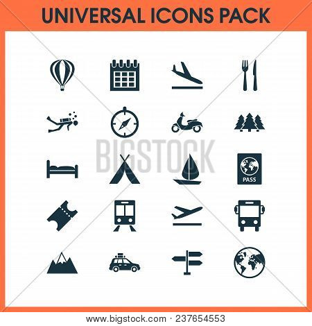 Exploration Icons Set With Tent, Train, Aircraft And Other Scuba Elements. Isolated  Illustration Ex