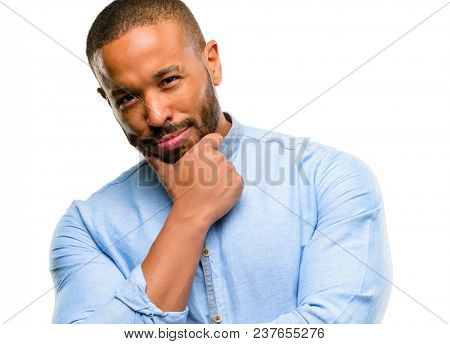 African american man with beard thinking thoughtful with smart face isolated over white background