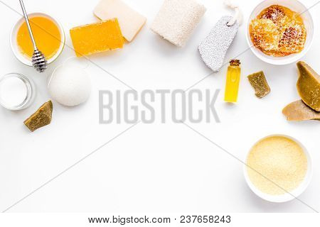 Aromatic Theraphy And Delicate Skin Care. Spa Set Based On Honey On White Background Top View.