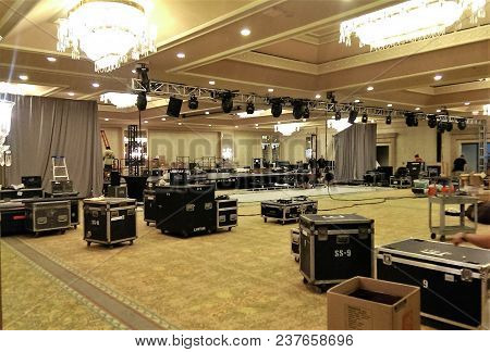 Ballroom Setup With Lighting Power Cables, Rigging Trusses