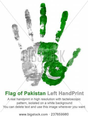 A Real Left Hand Impression In The Colors Of The Flag Of Pakistan. Symbol Of Holidays And Dates Of P