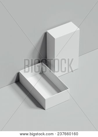 White Opened Rectangular Box Stands Next To The Grey Wall And On Grey Floor, 3d Rendering