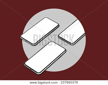 3 White Mobile Phones In A Light Grey Circle On A Dark Red Background, 3d Rendering