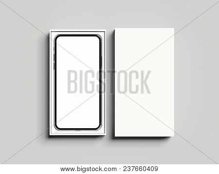 White Opened Rectangular Box With Mobile Phone Inside On Light Grey Background, 3d Rendering