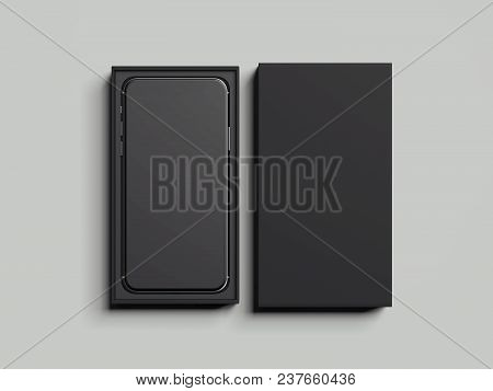 Black Opened Rectangular Box With Black Mobile Phone Inside On Light Grey Background, 3d Rendering