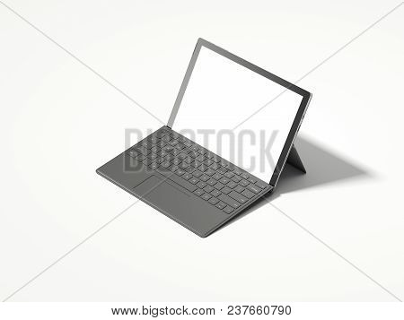 Realistic Black Laptop With White Screen On Grey Background, 3d Rendering