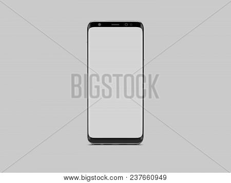 Realistic Black Phone With White Screen On Grey Background, 3d Rendering