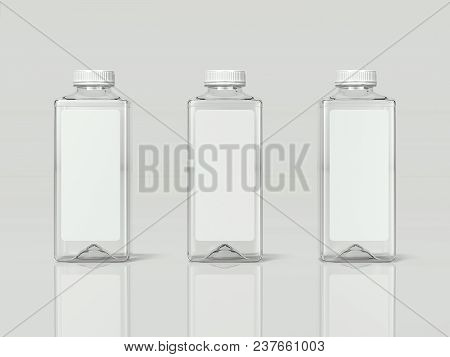 3 Transparent Isolated Bottles Of Water With Label On Light Grey Background, 3d Rendering