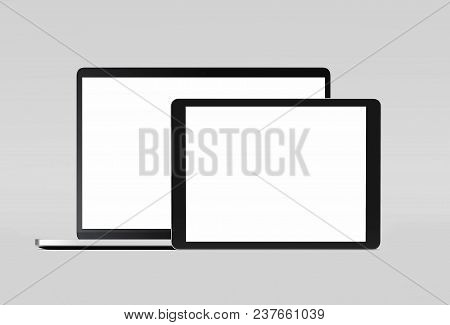 Realistic Black Laptop With Black Tablet On Light Grey Background, 3d Rendering