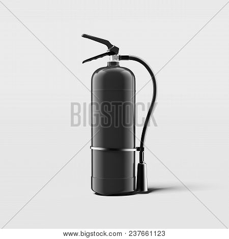 Realistic Black Fire Extinguisher On Light Grey Background, 3d Rendering