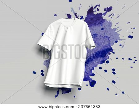 White Realistic T-shirt On White Background With Light Violet Smear, 3d Rendering