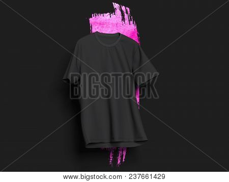 Black Realistic T-shirt On Black Background With Light Pink Smear, 3d Rendering