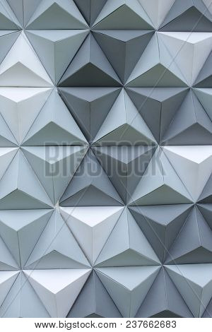 Style, Texture, Decoration Concept. Futuristic Background Composed Of Three Dimensional Triangles In